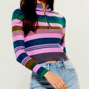 NWT Free People $98 Crop Top Sweater PURPLE Stripe